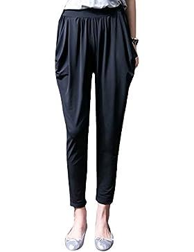 Mengmiao Mujer Color Puro Elástico Cintura Alta Suelto Casual Tallas Grandes Harem Pantalón