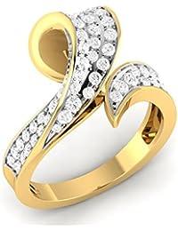 VIJISAN Solid 10K Gold 0.84 CT Round Cut Natural Diamond SI HI Bypass Designer Engagement Ring [VIJISAN_AMR1705...