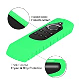 CASEBOT Silicone Case for Fire TV 4K (2017) / 2nd Gen Fire TV Stick, Compatible with Echo/Echo Dot Alexa Voice Remote - Honey Comb Series [Anti Slip] Shockproof Cover, Green-Glow