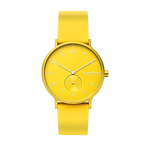 Skagen Unisex Erwachsene Analog Quarz Uhr mit Silikon Armband SKW6557