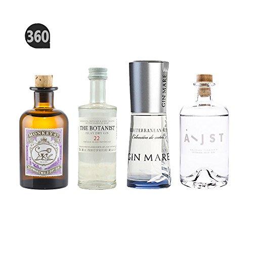 Gin Mare 0,1 Liter + Monkey 5 cl + Botanist 5cl + London Blue 5 cl