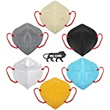 Bildos Protective N95 mask washable and Reusable 5 Layer Special safety Anti-Bacterial Mask (Multicolour N-95 Mask without Respiratory Valve)-Pack of 6