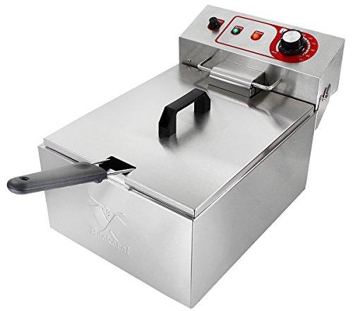 Beeketal \'BTF10a\' Kaltzonen Fritteuse (9 Liter Volumen für max. 5 Liter Öl) Edelstahl Friteuse mit Temperaturkontrolle (Basic Serie)