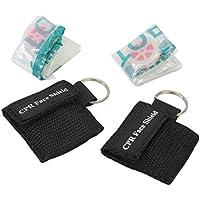 Pinzhi® 2 Stücke CPR Masken mit Schlüsselanhänger für Mund zu Mund Schutz Beatmungstuch Hilfe (Schwarz) preisvergleich bei billige-tabletten.eu