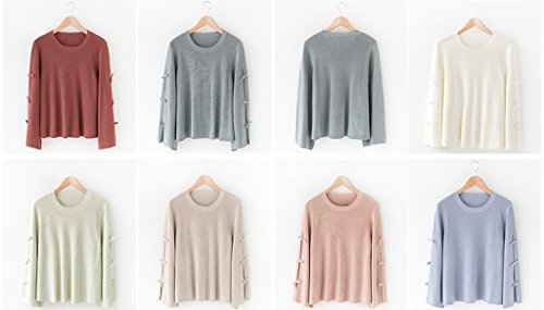 Smile YKK Pull Femme Tricot T-shirt Pull-over Top Col Rond Grande Taille Manches Longues Evasées Marron