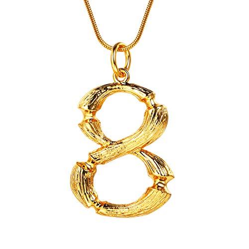ahl 8 Damen Collier Gelbgold überzogen Schlangenkette 1,2mm/52,5cm verstellbar Coole Nummer Ziffer Schmuck für Mädchen Frauen ()