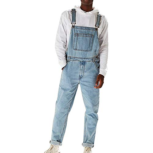 Heflashor Herren Jeans Latzhose Lange Jeanshose Retro Denim Bib Overalls Skinny Fit Streetwear Stone-Washed zerreißen Arbeitshosen Jumpsuit