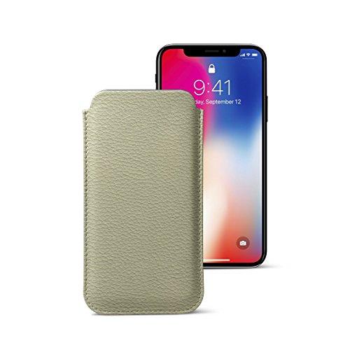 Lucrin - Klassische Schutzhülle für iPhone X - Schwarz - Leder genarbt Gebrochen Weiß