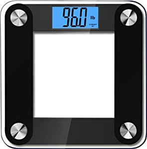 """BalanceFrom High Accuracy Plus Digital Bathroom Scale with 3.6"""" Extra Large Dual Color Backlight Display and """"Smart Step-On"""" Technology [NEWEST VERSION] (Black)"""