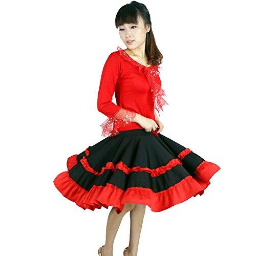 Byjia Latin Square Dance Dress Yoga Pompry Ballroom Kostüm Big Pendel Rock Praxis Match Uniformen Professionelle Performance Frauen Sets Red (Dance Size Kostüm Square Plus)