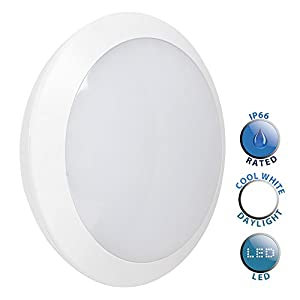 Modern 15w Integrated LED White Frosted Lens Round Robust Bulkhead Light - IP66 Rated by MiniSun