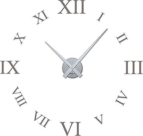 Graz Design 800378_SI_090 Wandtattoo Uhr mit Uhrwerk Wanduhr rmische Zahlen Wohnzimmer (Uhr=Silber//Aufkleber=Silbergrau)