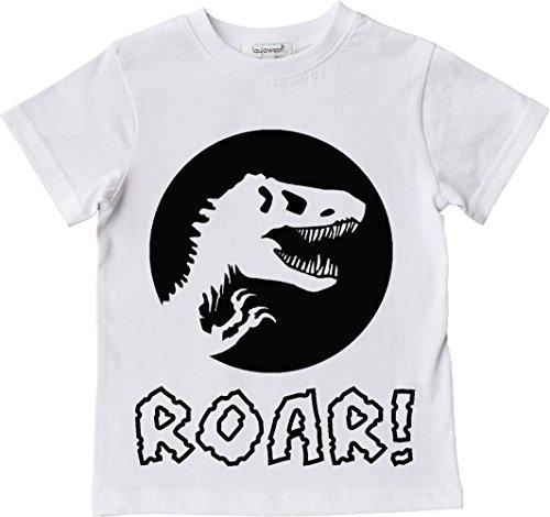 laylawson Dinosaurio Camiseta Chicos Niños Dino T-Shirt Tee Top Edad DE 2 a 12 Años (5-6 Años, Blanco)