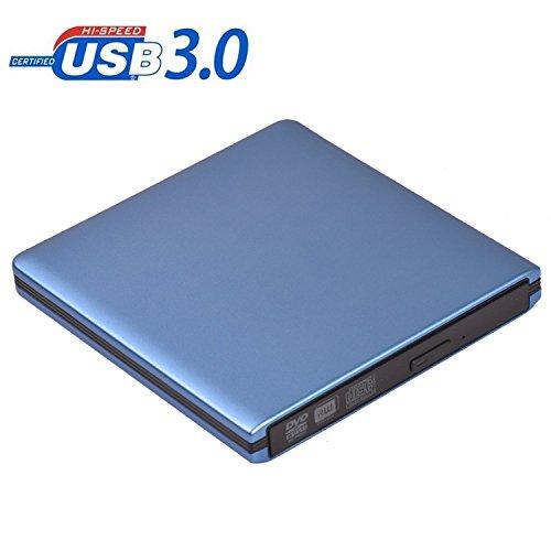 JOKDEER Externe DVD Laufwerks Brenner USB 3.0 CD/DVD-RW Writer Brenner All-Aluminium Ultra Slim Tragbarer DVD Brenner für Laptop und Desktop PC Windows und Linux OS Apple Mac Macbook Pro (Blau)