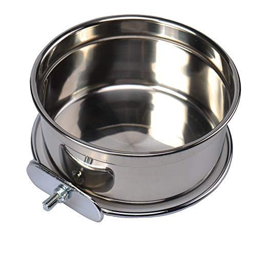 Edelstahl-Wasserschüssel/Futternapf, für Käfig/Zwinger, Haustier, Vogel, Hund, Katze, Papagei, Kaninchen