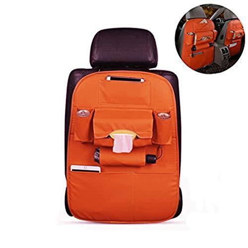 Autositz Zurück Organizer-Taschen-Schutz-Rücksitz-Speicher-Tritt-Mat Ipad Mini-Becherhalter-Regenschirm-Gewebe-Kasten Reise Zubehör for Kinder Frauen Baby (Color : Orange, Size : 1pack)