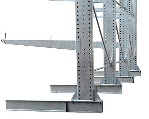 3,3m Kragarmregal verzinkt, 300cm hoch, 100cm tief, 3 Kragarmebenen – Langgutregal Schwerlastregal - 2