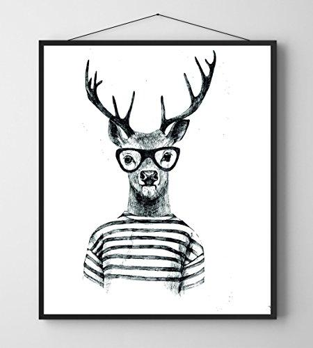 lamina-enmarcada-ciervo-hipster