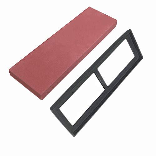 DKEyinx Schleifstein Küchenwerkzeug 400/800 Körnung Weißer Korund, mit Weicher Silikonschärfebasis, für Küchenmesser, Präzisionswerkzeug, Sushi-Messer, Obstmesser rot 400 Grit