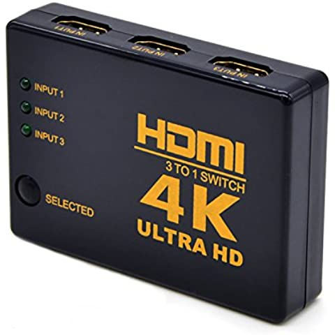 HDMI Switcher, 3 Ports High Speed Intelligent 4K HDMI Switch Box Wireless Mini Audio Video (Powered Hdmi Switch)
