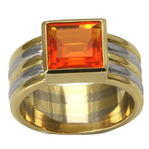 SKIELKA DESIGNSCHMUCK Feueropal Ring Gold Goldschmiedearbeit (Gelbgold/Weißgold 750) - Feueropal 9x9mm mit Expertise