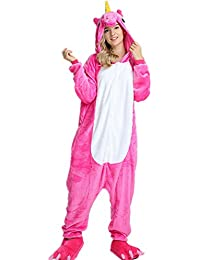 VineCrown Unicornio Pijama Animal Disfraces Traje Adultos Ropa de dormir Novedad Pijamas de una pieza Cosplay Carnaval Halloween Navidad