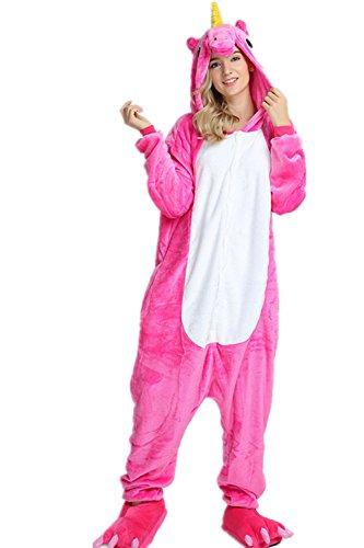 r Cartoon Einhorn Pyjama Overall Kostüm Sleepsuit Cosplay Animal Sleepwear für Kinder / Erwachsene (Small, Rose) (Cartoon Kostüme Für Frauen)