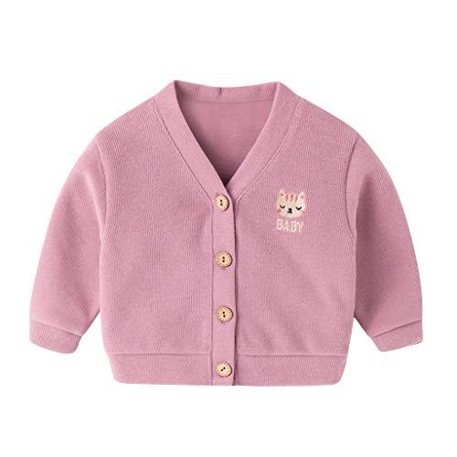 DIASTR Säugling Baby Strickjacke Mantel Gestrickt Winter Herbst Einfarbig Jacke Outwear Kapuzenmantel 6Monate-5Jahre -