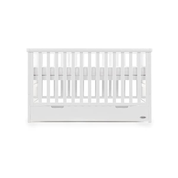 Obaby Belton Cot Bed, White Obaby Adjustable 3 position mattress height Bed ends split to transforms into toddler bed Includes matching under drawer for storage 3