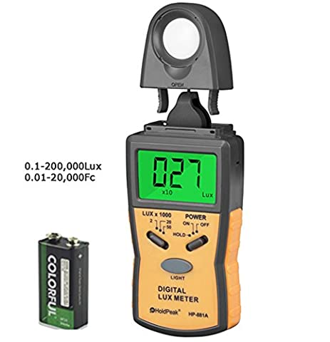 Holdpeak 881A Lux Light Meter with Peak Hold, Lux/FC Unit, Data Hold and Backlight Range Up to 50,000Lux - The Most High Accurate Digital Illuminance/Light Meter available! (CE,ISO,ROHS,GMC)