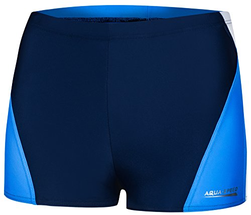 Aqua Speed ALEX Herren Badehose   Schwimmhose   S-XXXL   Modern   MALAGA Gewebe   Perfect Fit   UV-Schutz   Chlor resistent   Kordelzug, Größe:XL, Farbe:452/navy white blue
