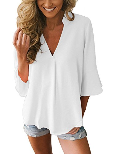 Yidarton Damen Bluse Elegant V-Ausschnitt Sexy Chiffon Hemd Shirt Oberteil Tops Frühling Sommer 3/4 Glockenhülse Casual Einfarbig (Weiß, (EU36-38) M)