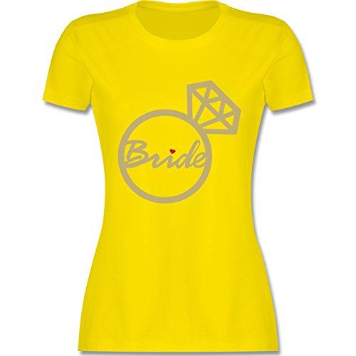 JGA Junggesellinnenabschied - Bride - Diamantring - Damen T-Shirt Rundhals Lemon Gelb