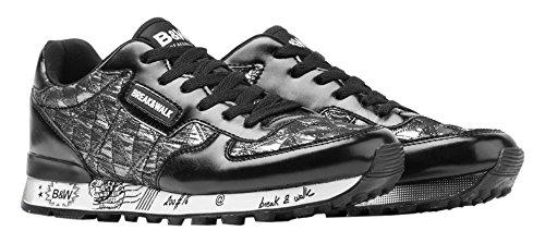 Break&Walk Donna Sneakers Mujer Acolchado scarpe sportive argenteo Size: 37