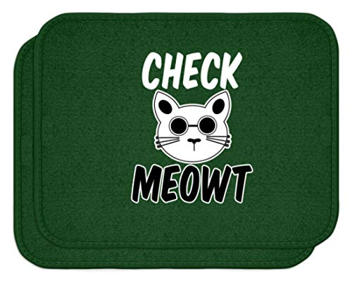 SPIRITSHIRTSHOP Check Meowt! Für die coolen Katzenliebhaber unter uns! Sonnenbrille Mauz - Automatten -Einheitsgröße-Dunkelgrün
