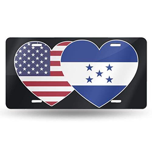 Ganheuze Honduras USA Flag Twin Heart Novelty Car 6x12 Aluminum Front Vehicle License Plate Frame Vanity Tag Sign -
