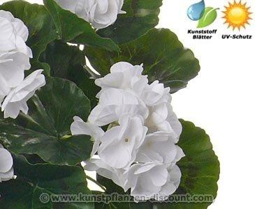 AUSLAUF Wasser abweisende künstliche Geranie mit weiß-creme farbigen Blüten- Kunstpflanze Kunstbaum künstliche Bäume Kunstbäume Gummibaum Kunstoffpflanzen Dekopflanzen