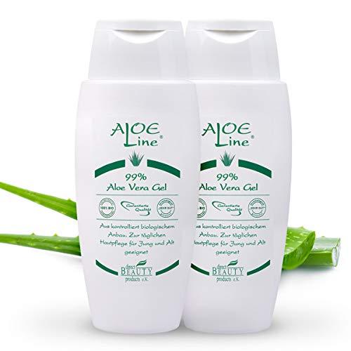 Bio Aloe Vera GEL 99% für Haut & Haar | spendet Feuchtigkeit & lindert Sonnenbrand, leichte Verbrennungen & Verletzungen, Mücken- & Insektenstiche, Akne | ohne Duft- & Farbstoffe | VEGAN | 2x150ml (Antriebs-gel-kissen)