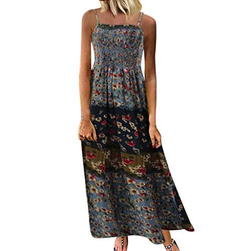 Bedruckte Seide Organza-kleid (KPILP Frauen Abendkleider Cocktailkleide Plus Size Leinen Lose Vintage Casual Oansatz Kurzes Kleid Kurzarm Knopf Kleid(B-blau,EU-48/CN-2XL))