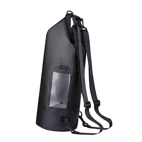 HiHiLL Bolsa Impermeable 15L con Interfaz de Audio  PVC  Correas del Hombro Ajustables  para Actividades Exteriores y Deportes Acuáticos (WB A1  Negro)