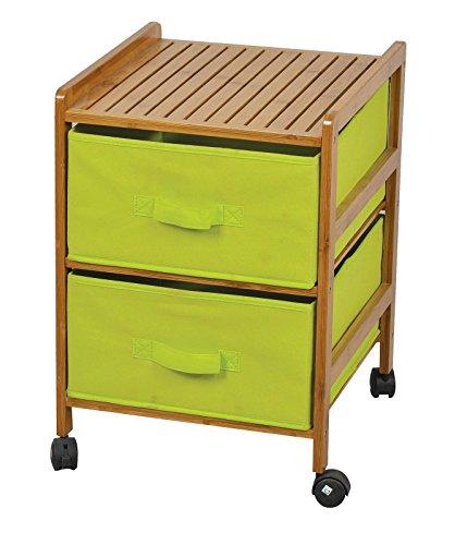 Badregal mit 2 grünen Stoff Schubladen - Bambus Holz Regalwagen Caontainer auf Rollen