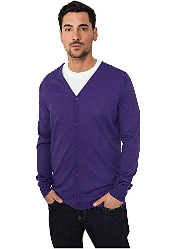 Urban Classics Herren Pullover Knitted Cardigan Purple