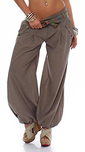 malito Culotte Bouffante classique Design Harem Pantalon Sweatpants Boyfriend pantalon Aladin Yoga 3417 Femme Taille Unique (fango)