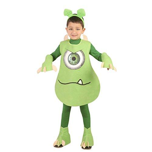 NET TOYS Monsterkostüm Kinder Kostüm kleines grünes Monster S 110/116 5 - 6 Jahre Faschingskostüm Glotzkowski Kinderkostüm Ungeheuer Ganzkörperkostüm Kinderfasching Outfit Monster AG