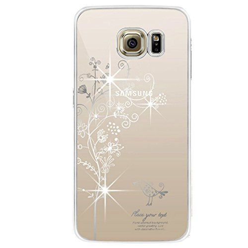 iPhone 6S Coque ,iPhone 6 Coque, EMAXELERS Transparente Hard Clear Plating PC Etui Rose Dandelion Motif Sparkles Bling Crystal Case Coque Etui Protection Pochettes Back Cover pour Apple iPhone 6/6S -- Silver Tree