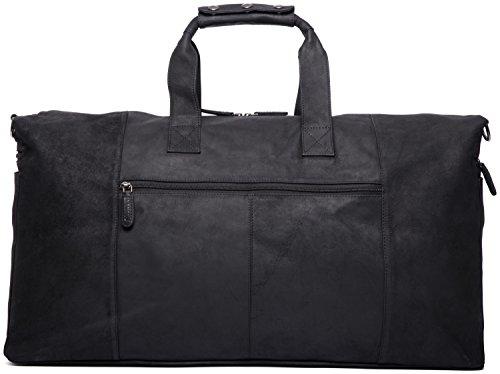 LEABAGS Sydney sac de voyage rétro-vintage en véritable cuir de buffle - SugarCane Noir