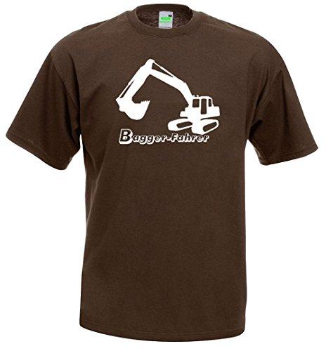 Bagger-Fahrer T-Shirt | Baggerfahrer | Radlader | Raupe | Bauarbeiter | Premiumshirt von Bimaxx® Braun