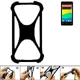 K-S-Trade Handyhülle für BQ Readers Aquaris E4.5 Schutz Hülle Silikon Bumper Cover Case Silikoncase TPU Softcase Schutzhülle Smartphone Stoßschutz, schwarz (1x)