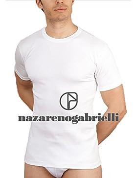 NAZARENO GABRIELLI Confezione 3 PEZZI Maglie Intime Girocollo Uomo 100% Cotone Interlock Colore Bianco