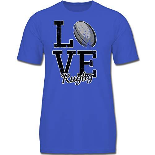 Traditionelle Rugby-shirts (Sport Kind - Love Rugby - 128 (7-8 Jahre) - Royalblau - F130K - Jungen Kinder T-Shirt)